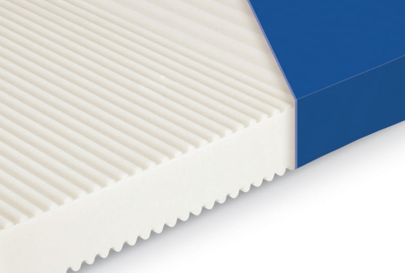Profiled upper surface of the mattress